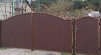 Ворота с калиткою закрытые профнастилом 680 грн./м.кв., фото 1