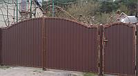 Ворота с калиткою закрытые профнастилом 5550, фото 1
