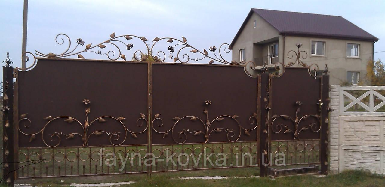 Ворота кованые с цветами  1196