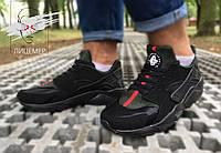Новые брендовые кроссовки черные с зеленым Nike Air Huarache run ultra blach and green ОРИГИНАЛ унисекс