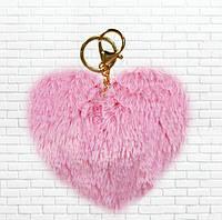 Меховой брелок сердце,розовое