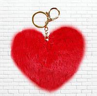Меховой брелок сердце,красный