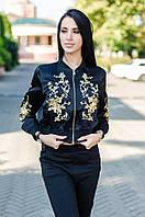 """Женская атласная куртка-бомбер с золотистой вышивкой """"Сакура"""" Love KAN № 0508"""
