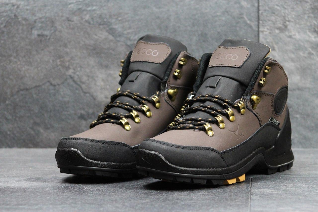 Ботинки мужские Ecco Yak на меху (черные с коричневым), ТОП-реплика