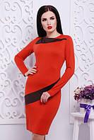 Трикотажное женское платье АЛЬБИНА ТЕРАКОТОВЫЙ Lenida 42-50 размеры