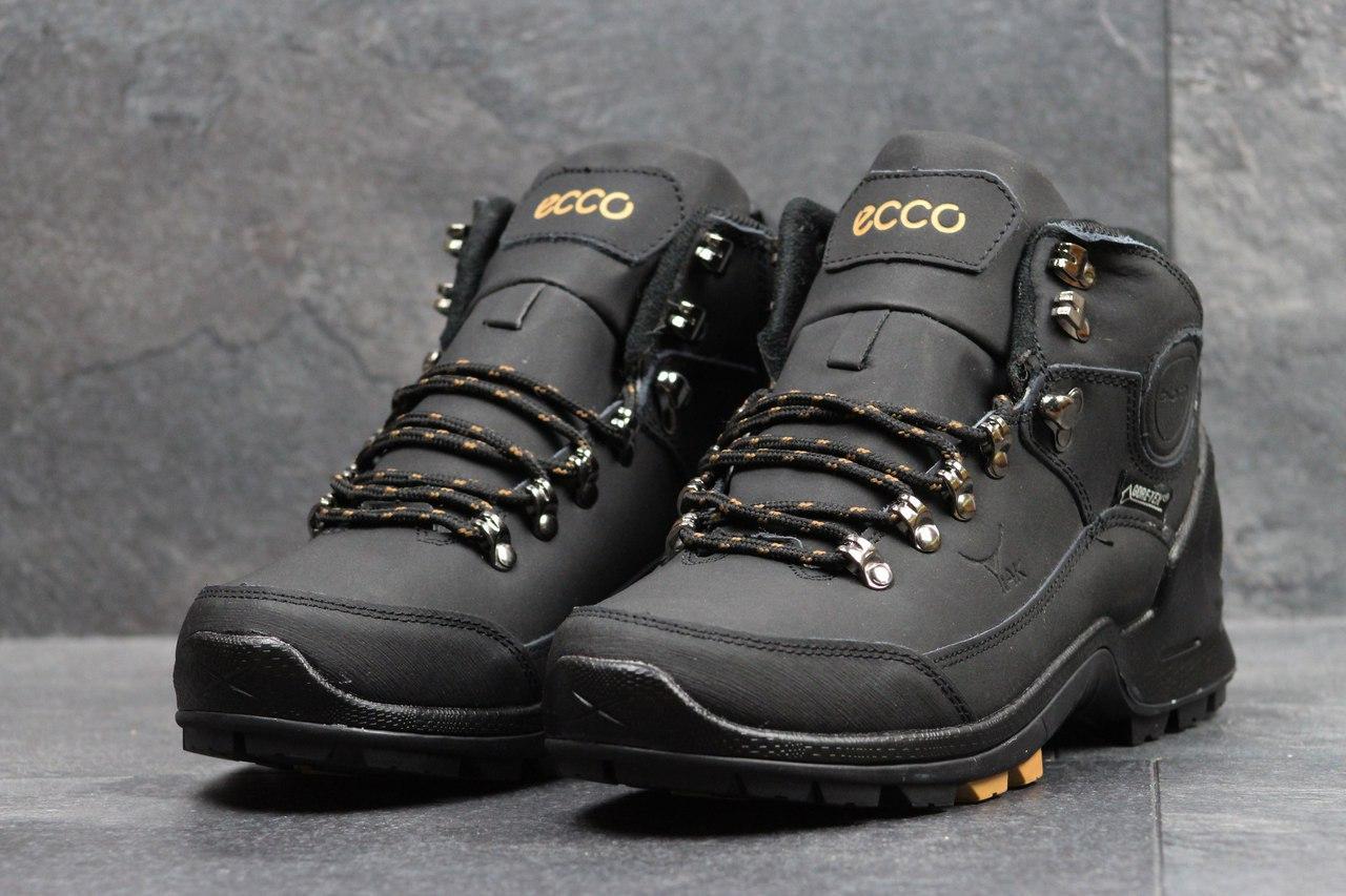 Ботинки мужские Ecco Yak на меху (черные), ТОП-реплика