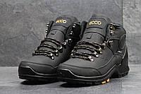 Ботинки мужские Ecco Yak на меху (черные), ТОП-реплика, фото 1