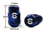 Гайка колёсная TPI М12х1,25х35мм Синяя (Nissan,Niva,Subaru,Suzuki) Конус ключ 19