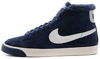 Мужские зимние кроссовки Nike Blazer High Fur (Найк) с мехом синие