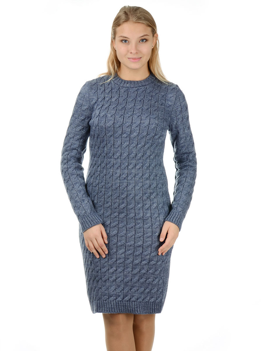 Теплое вязаное платье Irvik PL801D джинсовый