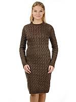 Теплое вязаное платье Irvik PL801K коричневое