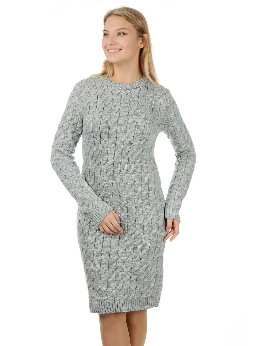 Теплое вязаное платье Irvik PL801S серое
