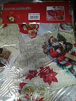 Скатерть новогодняя атлас 150*200 см принт Санта Клаус, новогодние атласные скатерти оптом от производителя