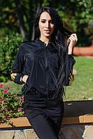 Женская атласная куртка-бомбер с вышивкой в виде крыльев (черный) Love KAN № 0514