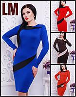 Платье Альба 42,44,46,48,50 р красное синее женское короткое весеннее осеннее батал трикотажное приталенное