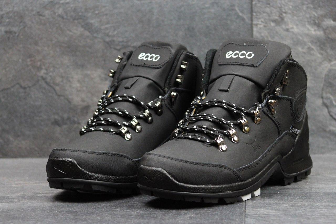 Ботинки мужские Ecco Yak на меху (черные с белым), ТОП-реплика