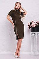 Элегантное теплое платье цвета хаки украшенноебоковой змейкой от талии до подола