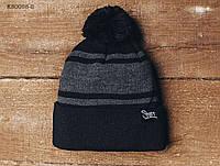 Зимняя шапка (с помпоном) Staff - Art. KS0058-2 (чёрный | тёмно-серый)