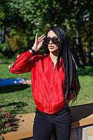 Женская атласная куртка-бомбер с вышивкой в виде крыльев (красный) Love KAN № 0514