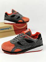 Мужские кроссовки Saucony, серо-оранжевые, материал - натуральная замша, подошва - пена+резина