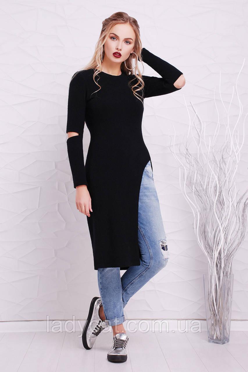 Облегающее черное платье туника