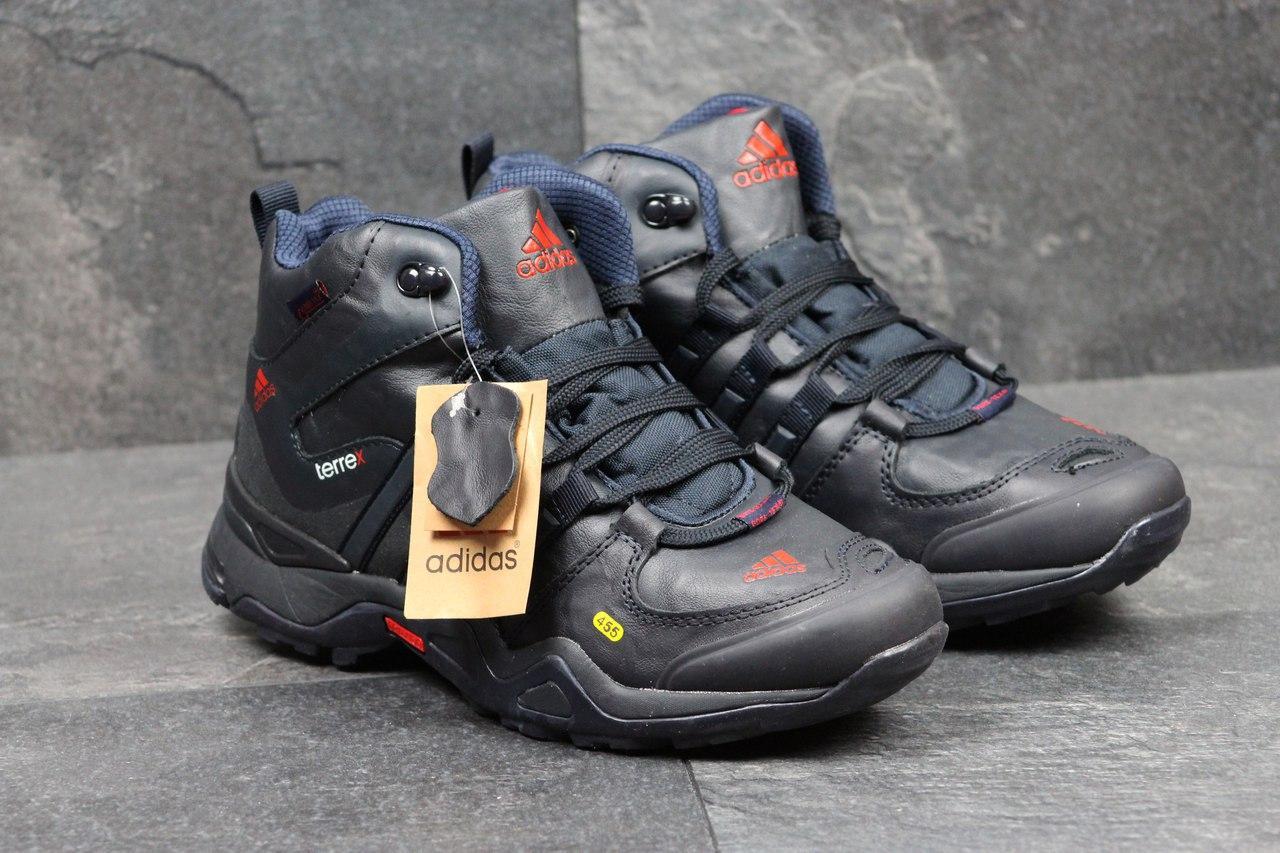 Ботинки мужские на меху  Adidas Terrex 455 (темно-синие), ТОП-реплика
