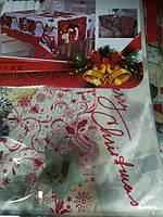 Скатерть новогодняя атласная 150*200 см Рождество, новогодние атласные скатерти оптом от производителя