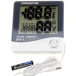 Цифровой термометр со встроенными часами , гигрометром и датчиком на улицу HTC-2