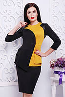 Трикотажное платье ШЕДЕВР горчица Lenida 42-50 размеры