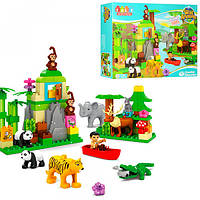Конструктор JDLT 5285 зоопарк, фигурка,животн,слон-звук,на бат(таб),106дет,