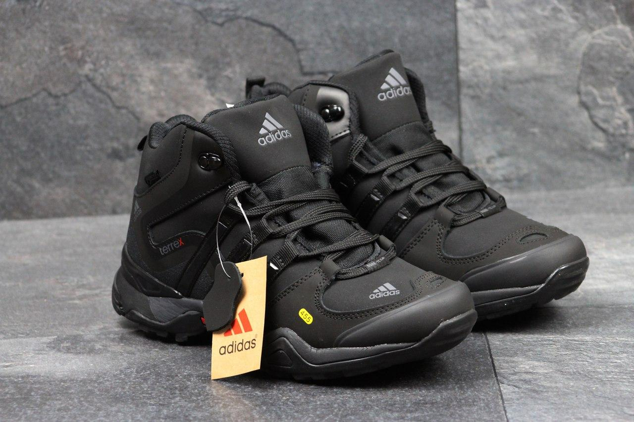 Ботинки мужские на меху  Adidas Terrex 455 (черные), ТОП-реплика
