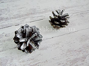 Шишка сосни натуральна срібна
