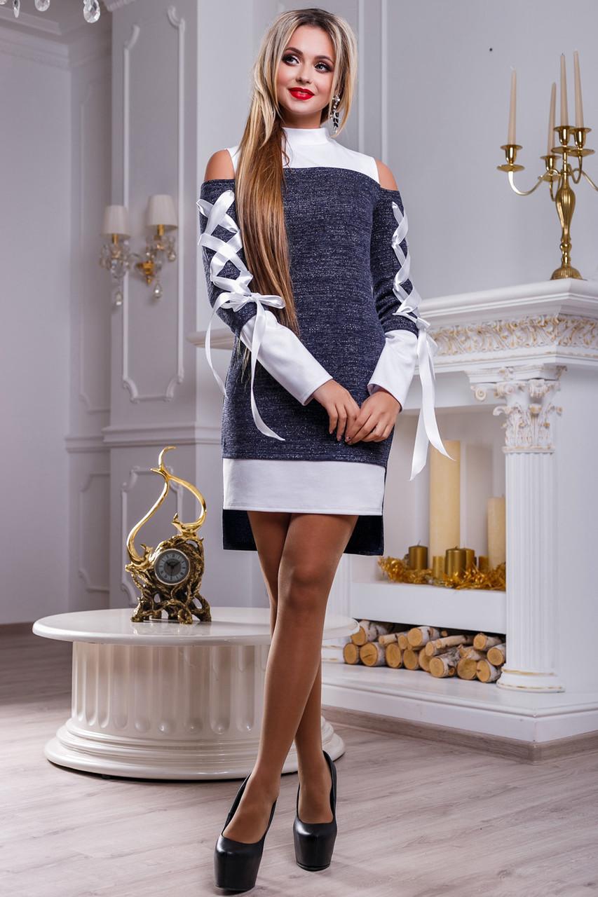 d9dba30716f Стильное нарядное женское платье 2478 сине-белый - цена 440 грн ...