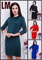 Платье Нинно 42,44,46,48,50 р красное синее женское короткое весеннее осеннее батал дайвинг с молниями