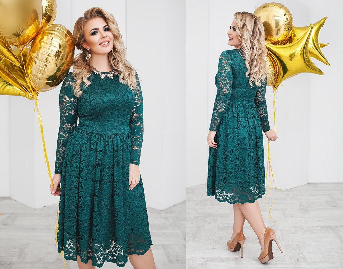 3db7d9cf5039b3e Нарядное женское гипюровое платье зеленое (6 цветов) ТК/-02068 - Dress Up
