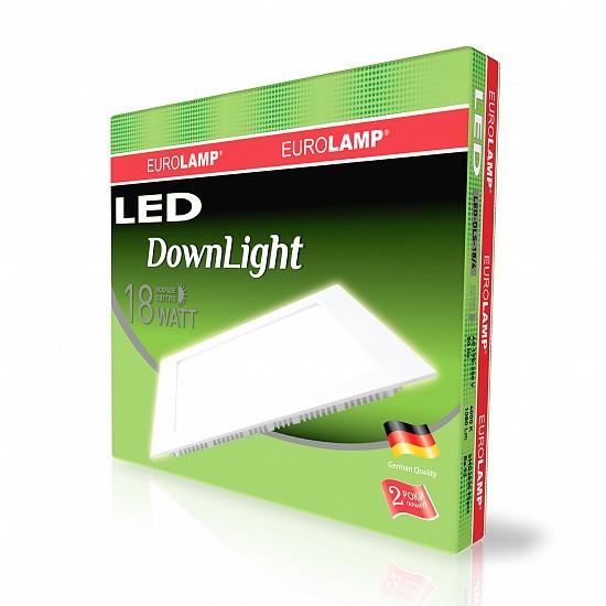 Світлодіодний квадратний врізний світильник EUROLAMP Downlight 18W 4000K