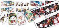 Зимний слайдер дизайн, 1 лист водных наклеек, Новый Год, Рождество Набор 6 шт.
