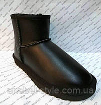 Угги женские из натуральной кожи UGG черного цвета короткие Код 1077, фото 3