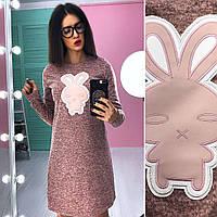 Платье стильное короткое с модным принтом трикотаж ангора разные цвета SMb1840