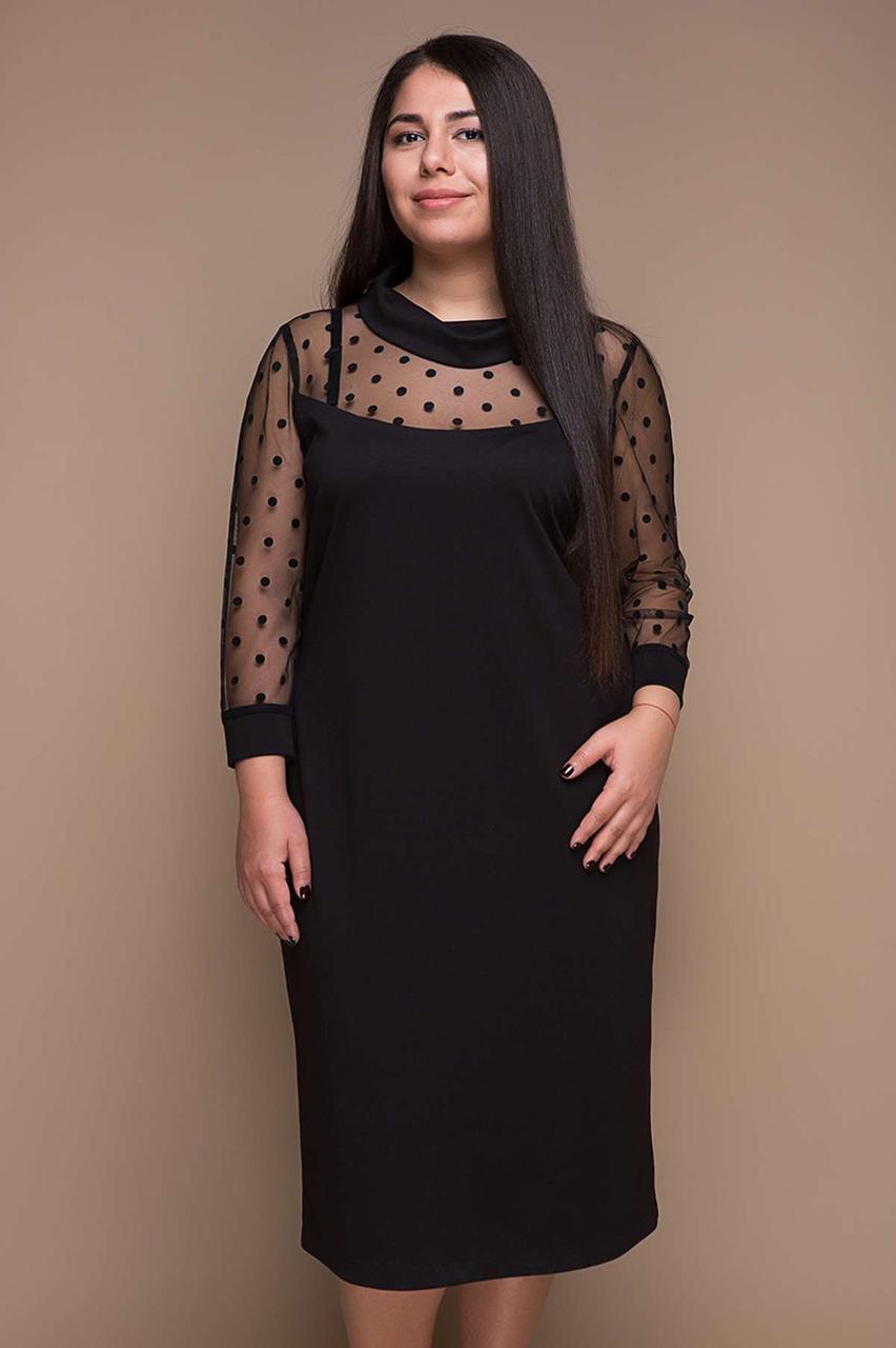 Женское вечернее платье Вета с декоративной сеткой / размер 58-60
