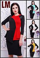 Платье Широ 42,44,46,48,50 р красное черное женское футляр весеннее осеннее батал с баской приталенное
