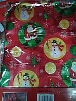 Скатерть новогодняя атласная 150*200 см Снеговики, новогодние атласные скатерти оптом от производителя