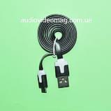 Кабель USB - microUSB плоский, довжина 1 м, колір чорний, фото 2
