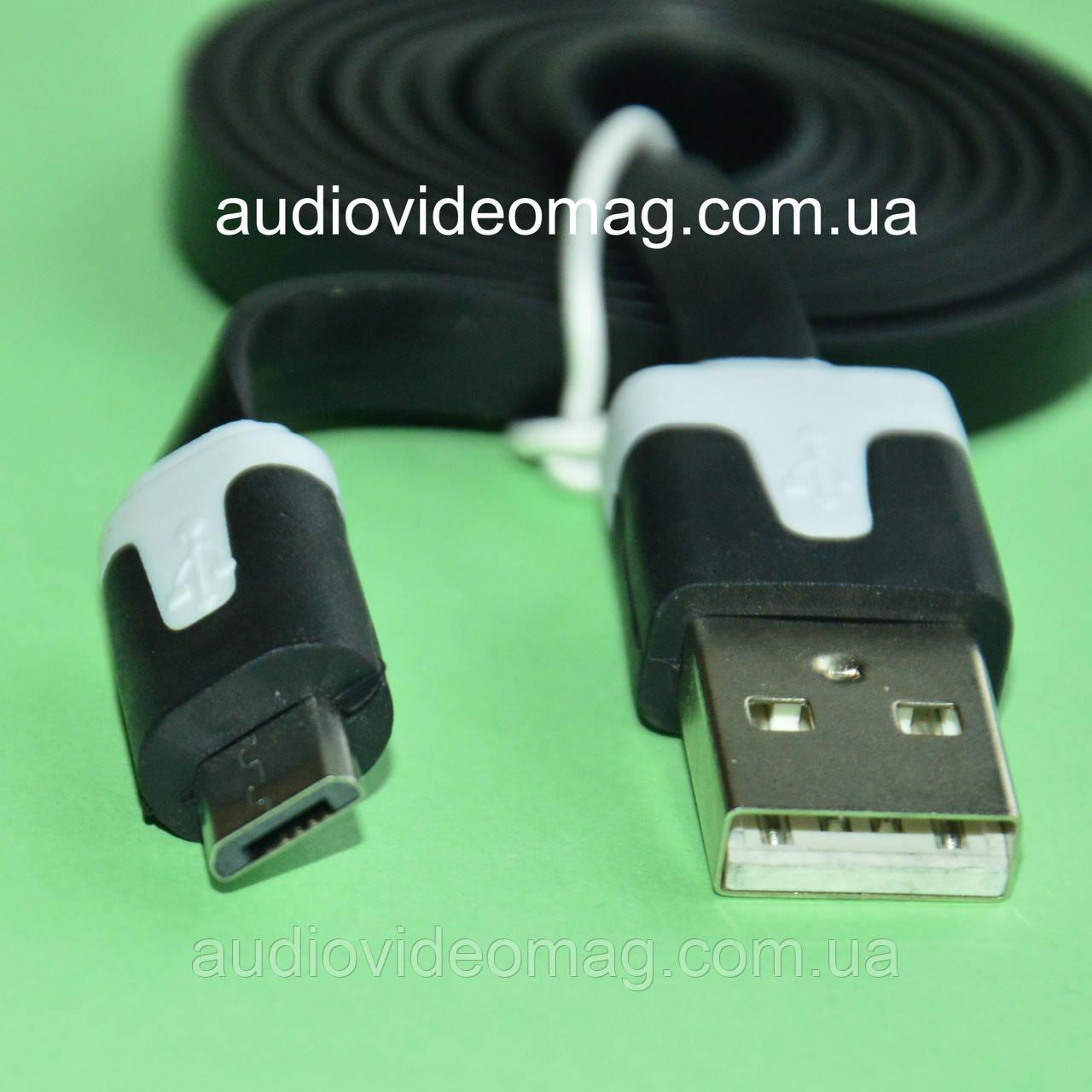 Кабель USB - microUSB плоский, довжина 1 м, колір чорний