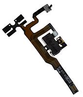 Шлейф для iPhone 4S, с кнопками регулировки громкости, с конектором наушников, черный, оригинал