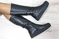 Зимние кожаные черные сапоги на высокой подошве материал: натуральная кожа внутри полушерсть