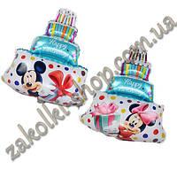 Фольгированные воздушные шары, форма: торт со свечками с двух сторон разный рисунок Микки маус и Минни маус, 2