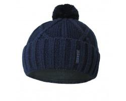 Детская зимняя вязанная шапка на флисе 52-54 темно синий