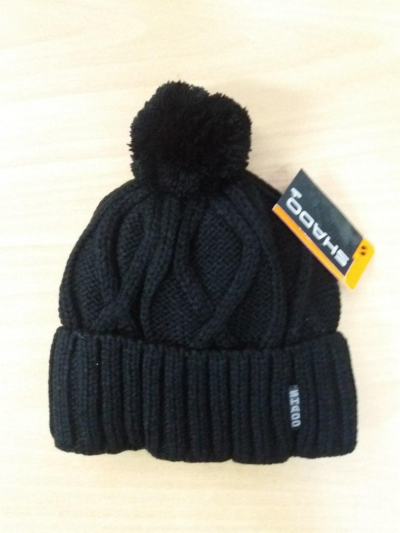 Детская зимняя вязанная шапка на флисе 52-54 черный