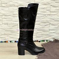 Сапоги женские демисезонные на устойчивом каблуке, натуральная черная кожа.